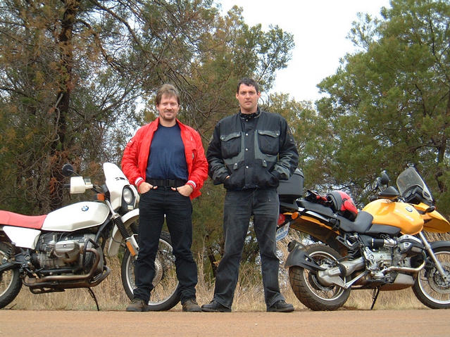 "Mark Pautz and Donald Massyn at the Rhenosterfontein T-junction after their ""adventure"""