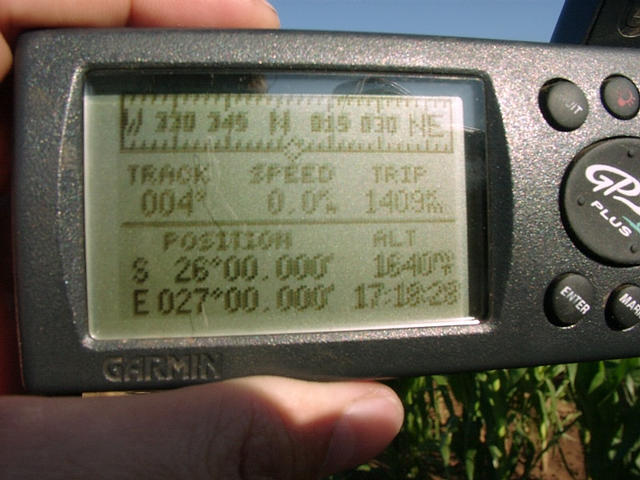 GPS screen showing coordinates