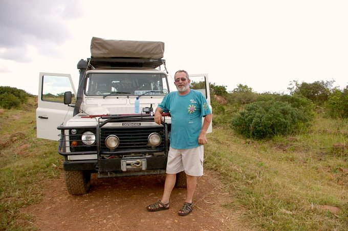 Peter, tired and back at the Land Rover