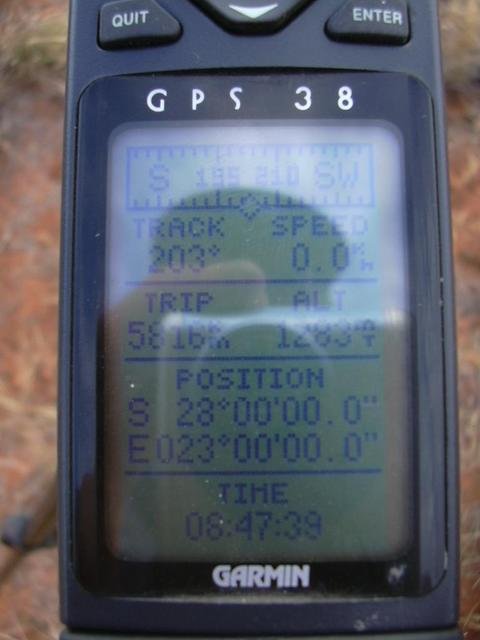 GPS showing 28S 23E