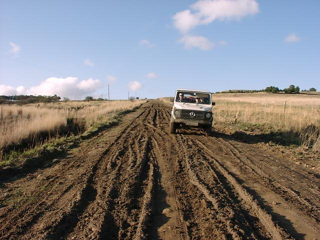 Ferdi sliding around in the mud