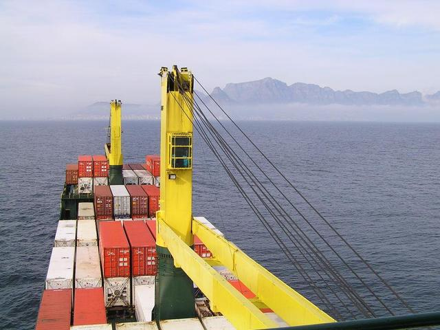 "The ""Phoenix"" approaching Cape Town with containers from Brazil a few days ago"
