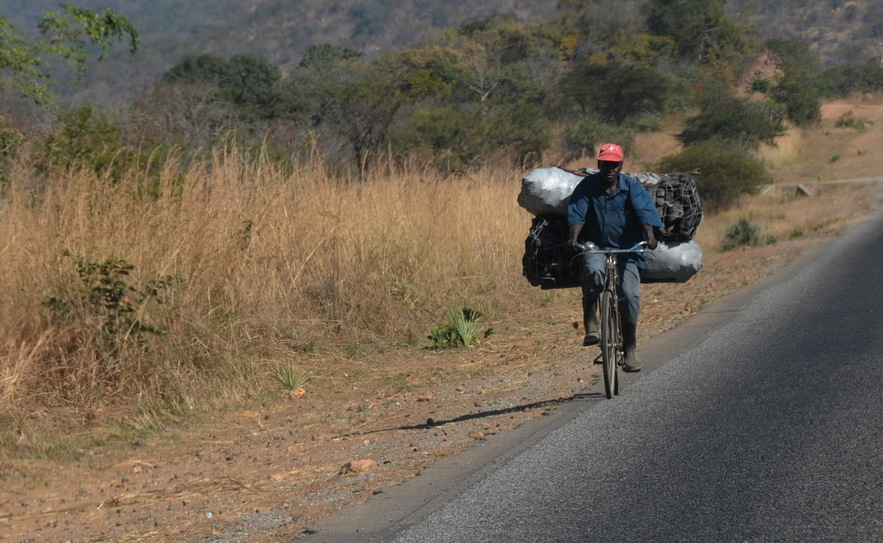 A common sight on the highway - transporting charcoal with bicycle